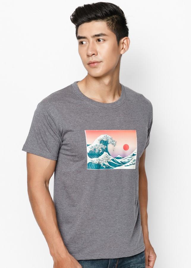 Áo Thun Nam Great Wave In Glass SuviTM0020 - Xám