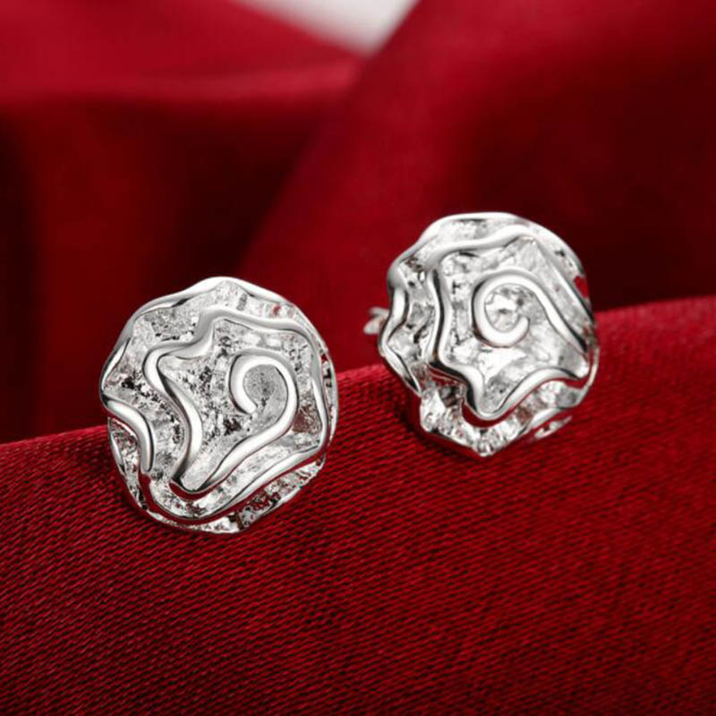 925 Silver Health  Beauty Elegant Slimming Fashion Jewelry Earrings Rose Silver-Plated Rose Plated Stud Dangle Earings Gift