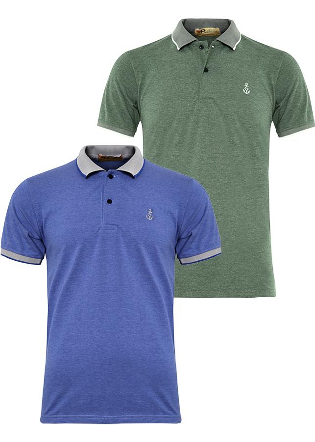 Bộ 2 áo thun nam Polo cổ phối bo dệt đẹp chuẩn Xmen PIGO cao cấp AHT08 (xanh da, rêu)