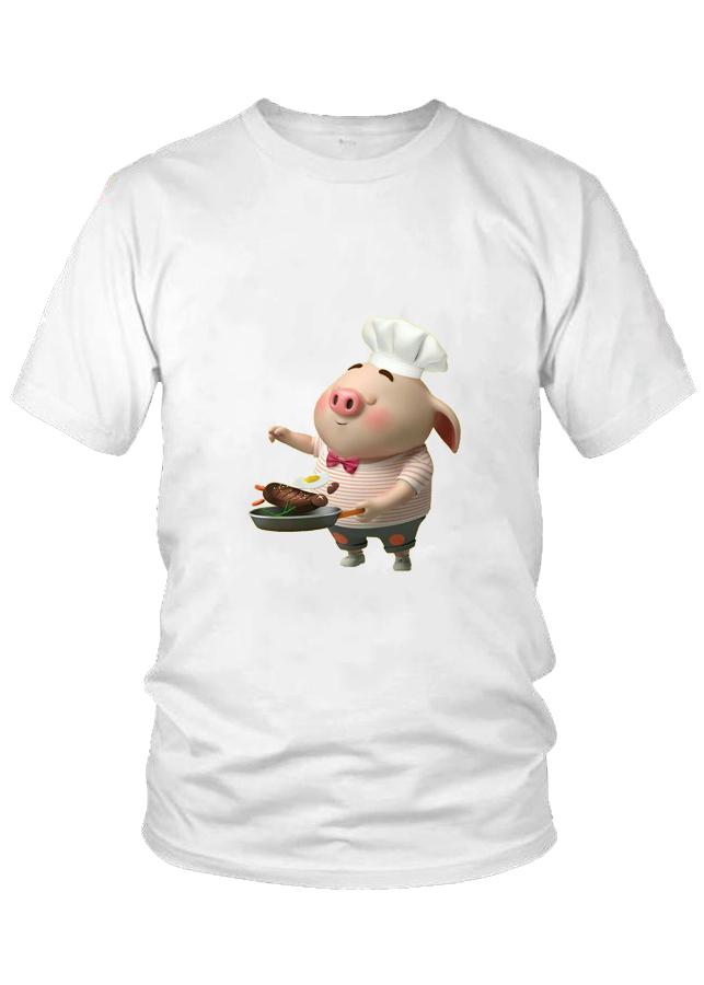 Áo thun nam thời trang VinaBoss họa tiết Heo Con làm Đầu Bếp Mẫu 11