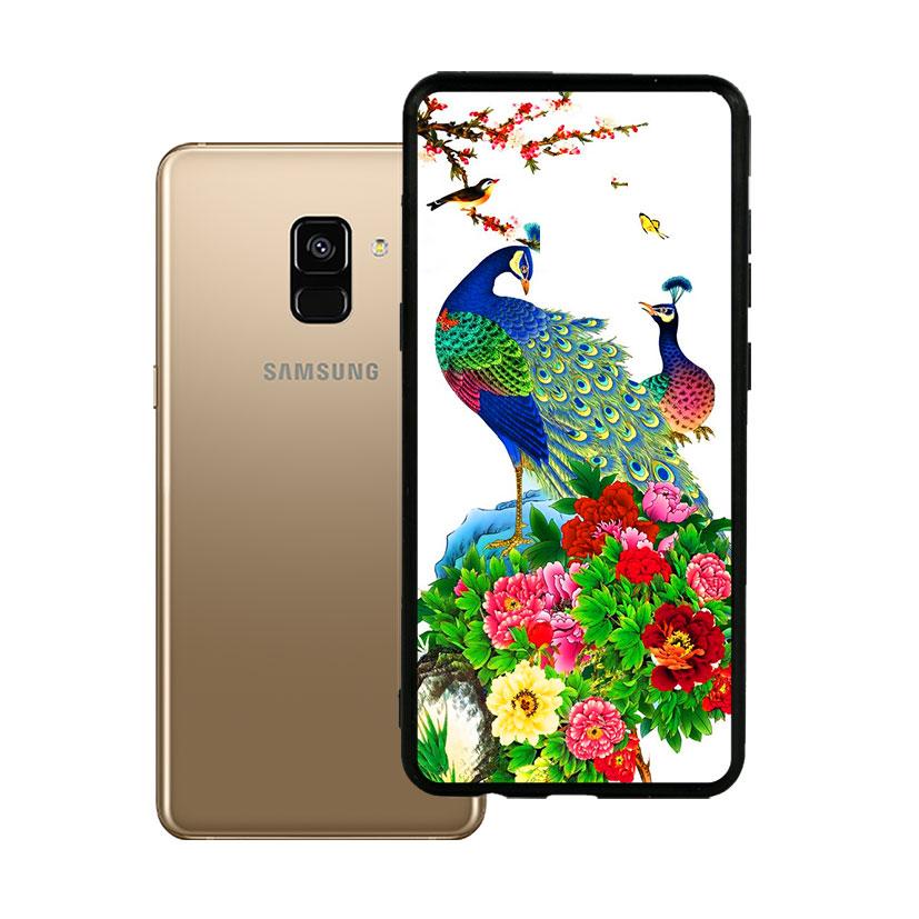 Ốp lưng viền TPU cho Samsung A8 2018 Plus - Chim Công