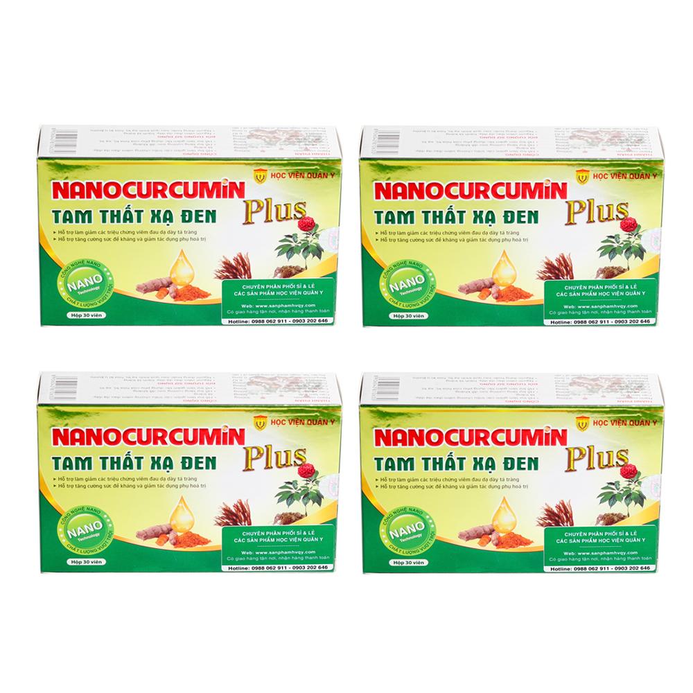 Combo 4 Thực Phẩm Chức Năng Nanocurcumin Tam Thất Xạ Đen PLUS (30 Viên/Hộp)
