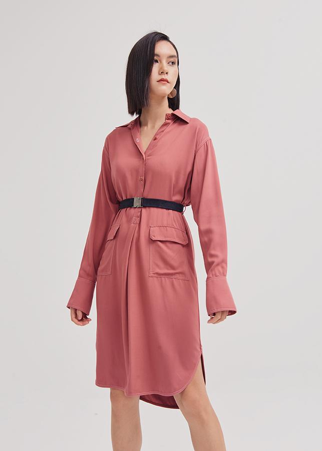 Đầm Sơ Mi Nữ Tay Dài Vải Bố Diễu Nổi Nhấn 2 Túi Marc Fashion - Hồng