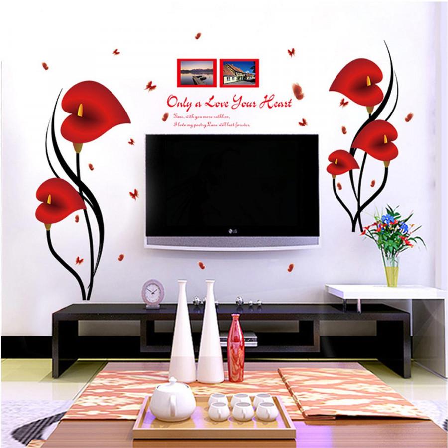 Decal dán tường Hoa trái tim đỏ - HP45