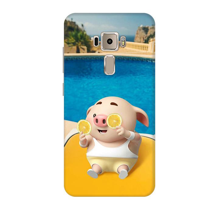 Ốp lưng nhựa cứng nhám dành cho Asus Zenfone 3 ZE520KL in hình Heo Tắm Bể Bơi