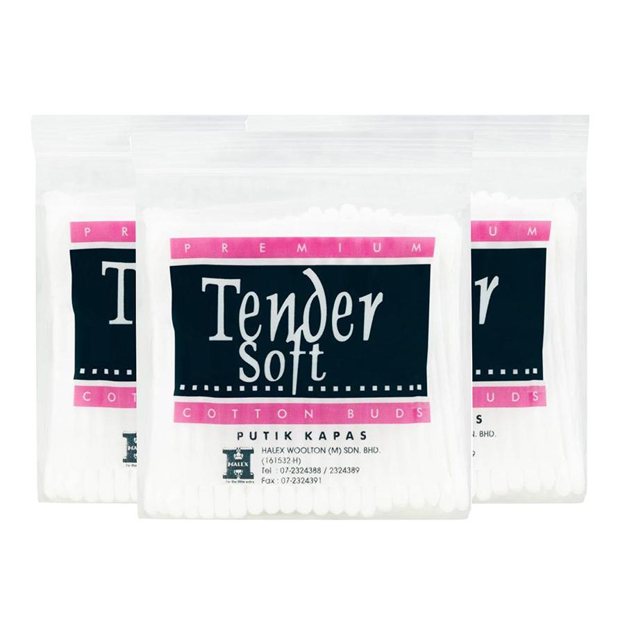 Bộ 3 Tăm Bông Tender Soft Túi 80 Cây (3 x 80 Cây)