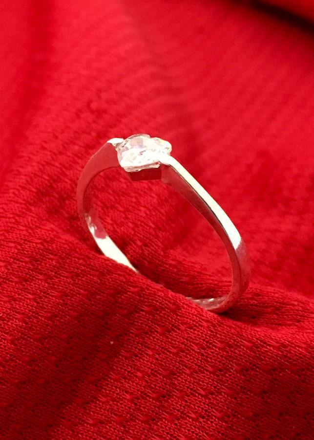 Nhẫn nữ đá trái tim màu trắng bạc 925 không xi mạ  Bạc QTJ - NU38(bạc)