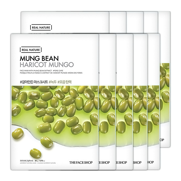 Combo 10 Mặt Nạ Giấy The Face Shop Real Nature Mung Bean Face Mask (20g)