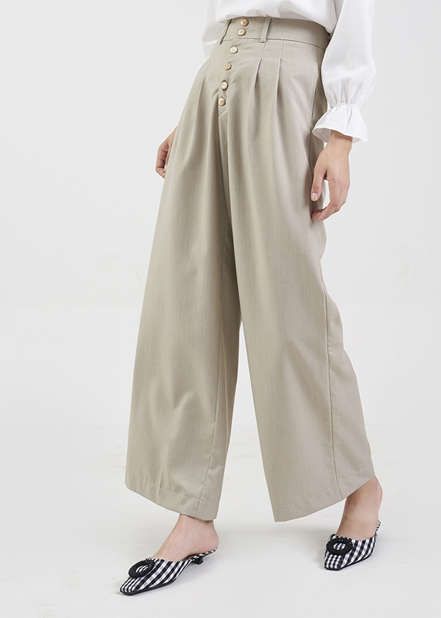 Quần Nữ Ống Rộng Cài Nút Marc Fashion KH102218