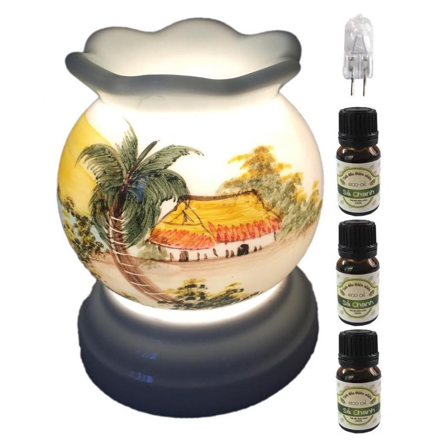 Đèn xông tinh dầu MNB20 và 3 tinh dầu sả chanh Eco 10ml và 1 bóng đèn