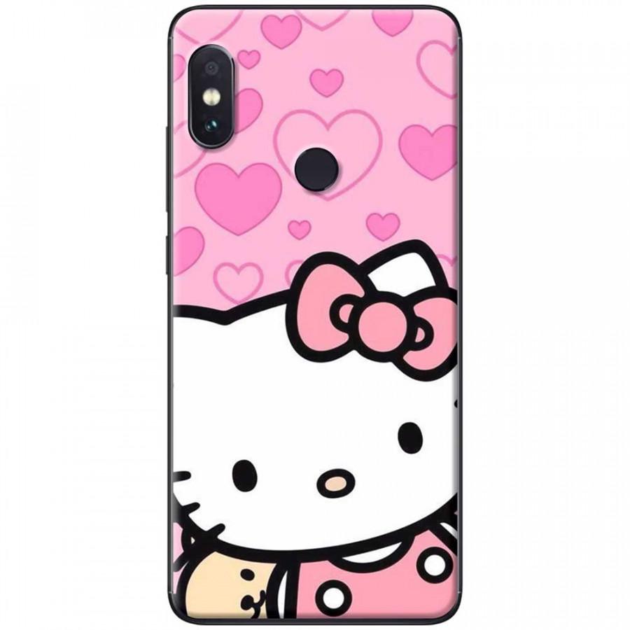 Ốp lưng dành cho Xiaomi Redmi Note 6 mẫu Mèo nền trái tim hồng