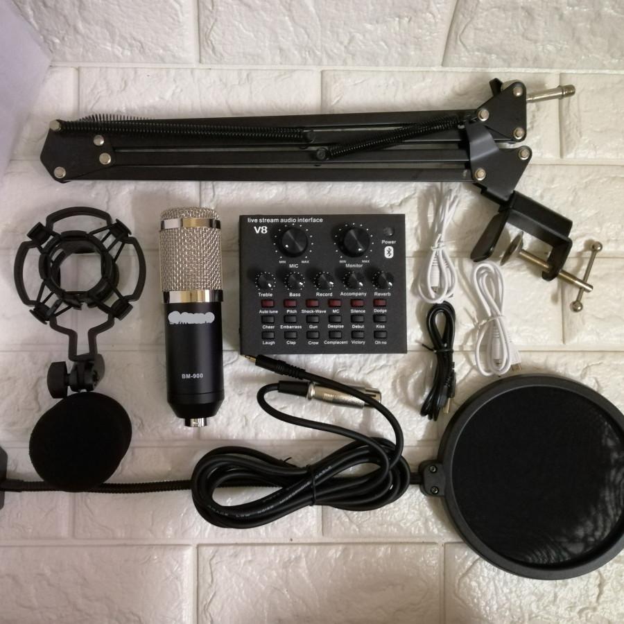 Trọn bộ thu âm Sound card V8 Bluetooth và Micro Bm 900 đầy đủ kẹp bàn màng lọc âm