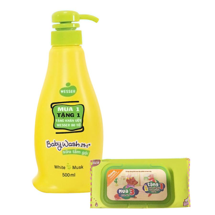Sữa Tắm Gội Wesser 2In1 Hương Cỏ Xạ Hương (500ml) - Xanh Lá Và Tặng Kèm Khăn Ướt Wesser (80 Tờ)