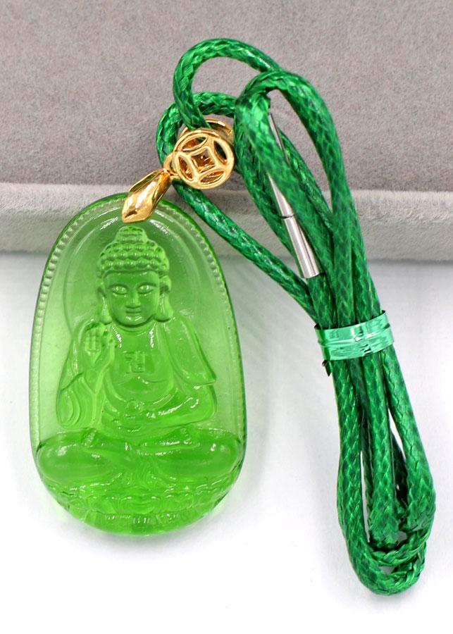 Dây chuyền mặt Phật A Di Đà - pha lê xanh lá 3.6cm DXFBXL7 - dây xanh - tuổi Tuất, Hợi