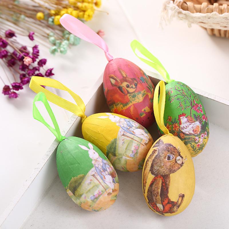 Colorful 6Pcs Foam Easter Eggs Hanging Crafts Ornaments Decor Hot Sale