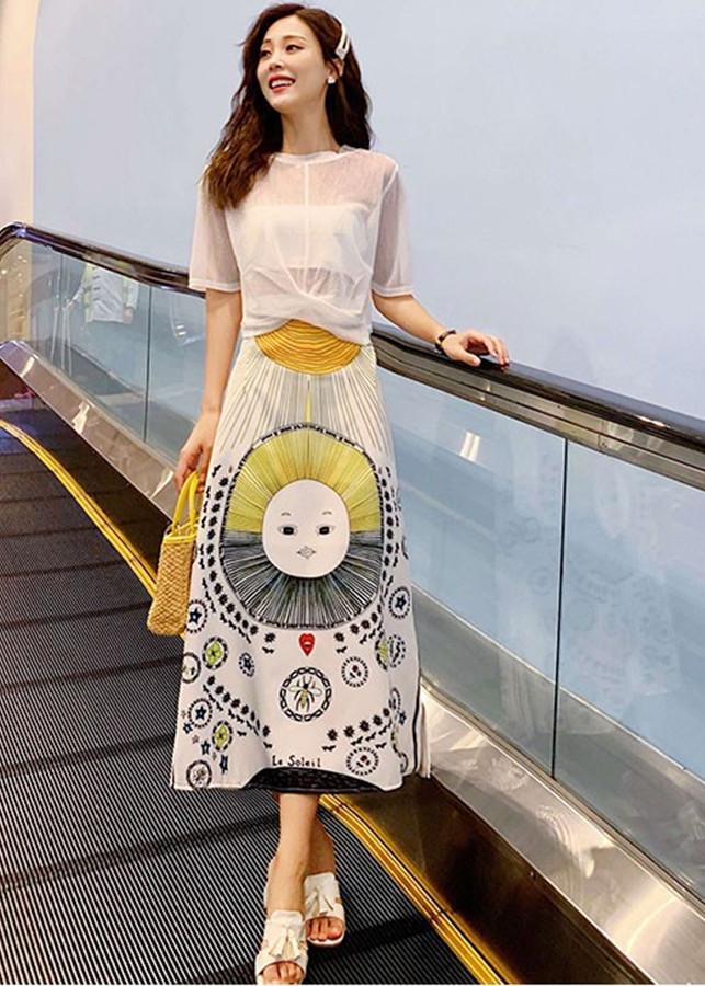 Hàng Nhập - Set Đầm 3 Món : Áo Voan + Áo Lót Trong + Chân Váy In Họa Tiết Ông Mặt Trời Siêu Việt TT - TGT2091
