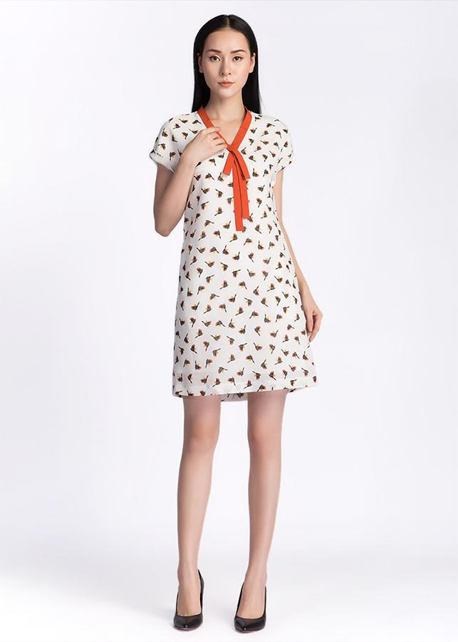 Đầm Suông Nữ Cổ Dây Nơ De Leah