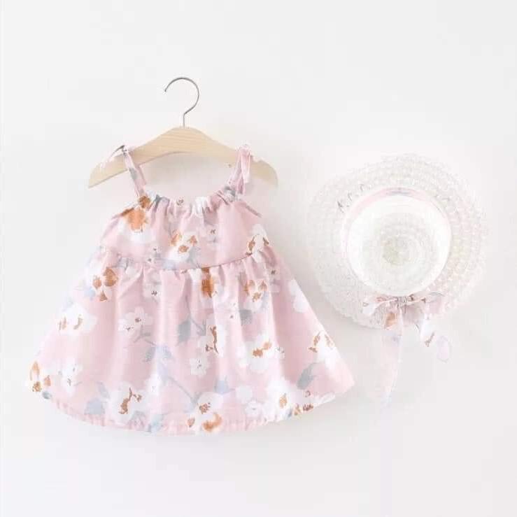 Sét váy 2 dây kèm mũ cho bé