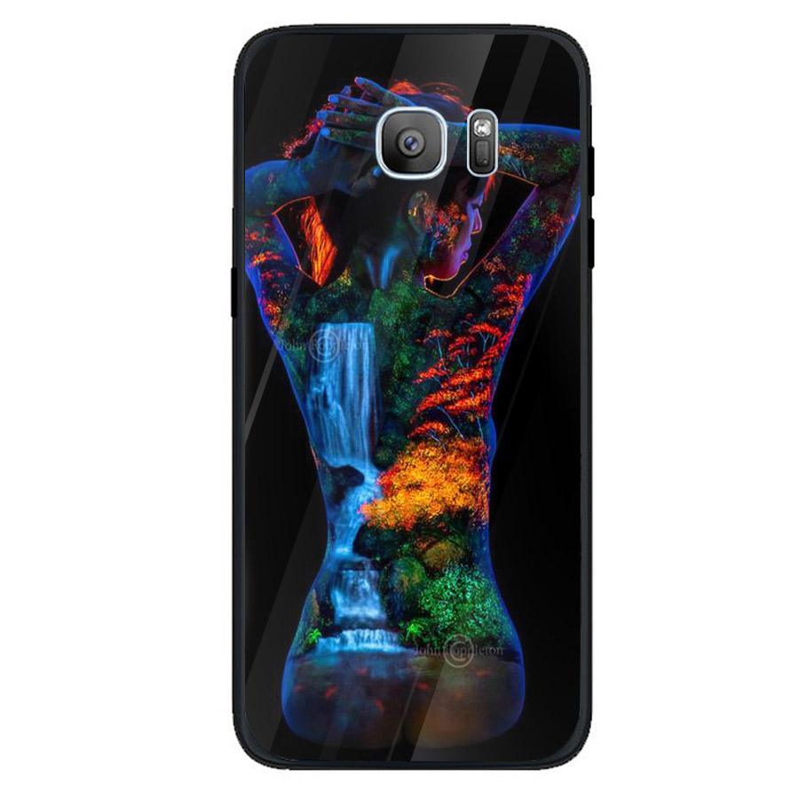Ốp kính cường lực cho điện thoại Samsung Galaxy S7 edge - Phía sau một cô gái MS PS1CG018 - Hàng Chính Hãng