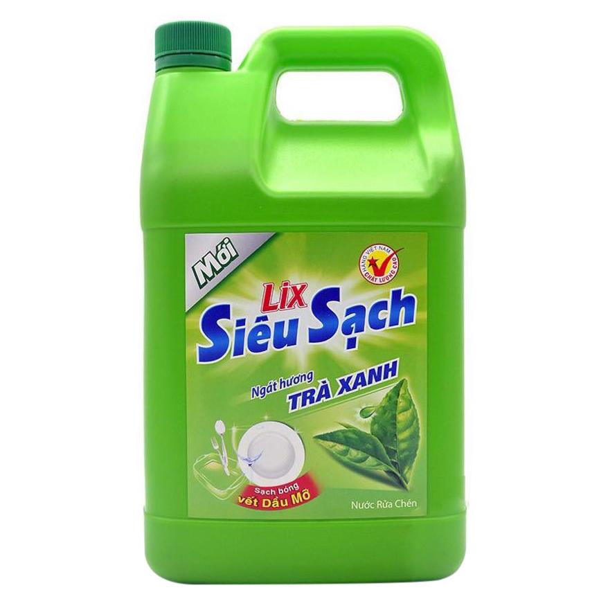 Nước Rửa Chén Siêu Sạch Lix Tinh Chất Trà Xanh Can (4Kg)