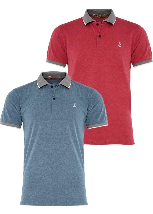 Bộ 2 áo thun nam Polo cổ phối bo dệt PIGO AHT08 (Vịt, đỏ)