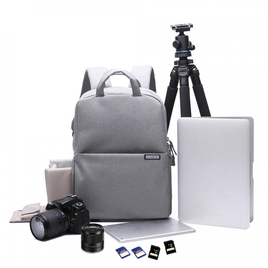 Andoer Water -resistant Shockproof DSLR Camera Bag Photography Video Backpack Leisure Shoulder Bag for Nikon Canon Sony