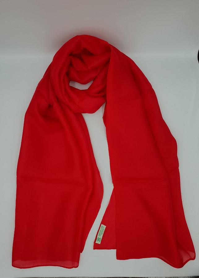 Khăn choàng lụa tơ tằm 100% - màu đỏ - NXKL001