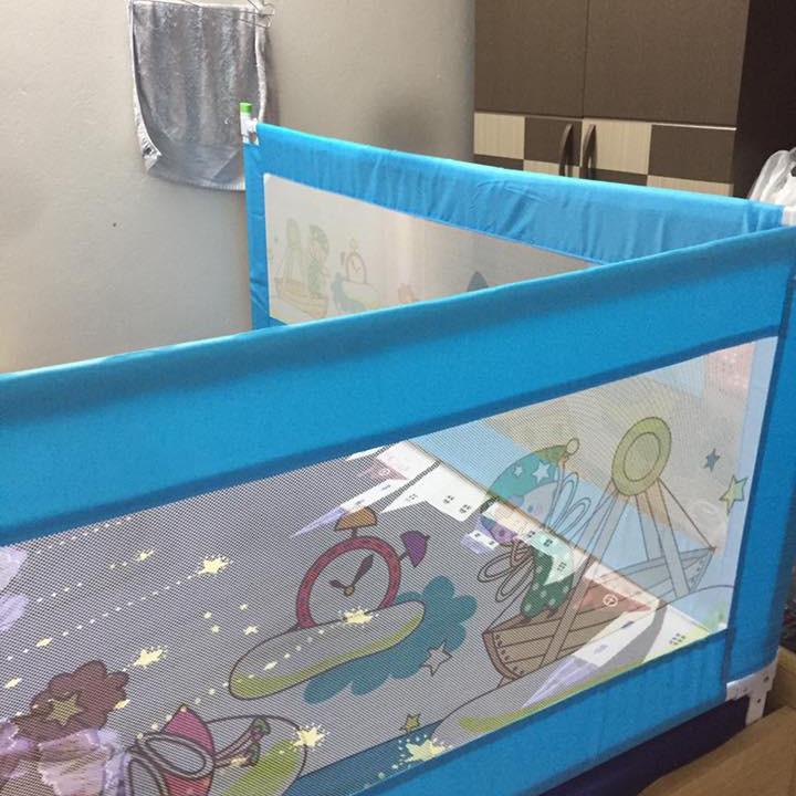 Combo Thanh chắn giường dạng trượt không khoan đục -  1 thanh 1m6 và 1 thanh 1m8 - Màu xanh