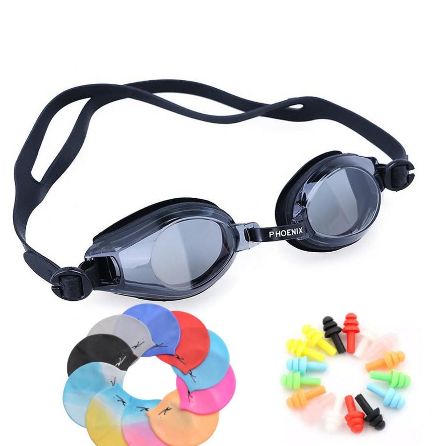Kính bơi YESURE Phoenix 203 màu đen  Tặng Kèm Bịt Tai Silicon và Nón Bơi ( Giao màu ngẫu nhiên )