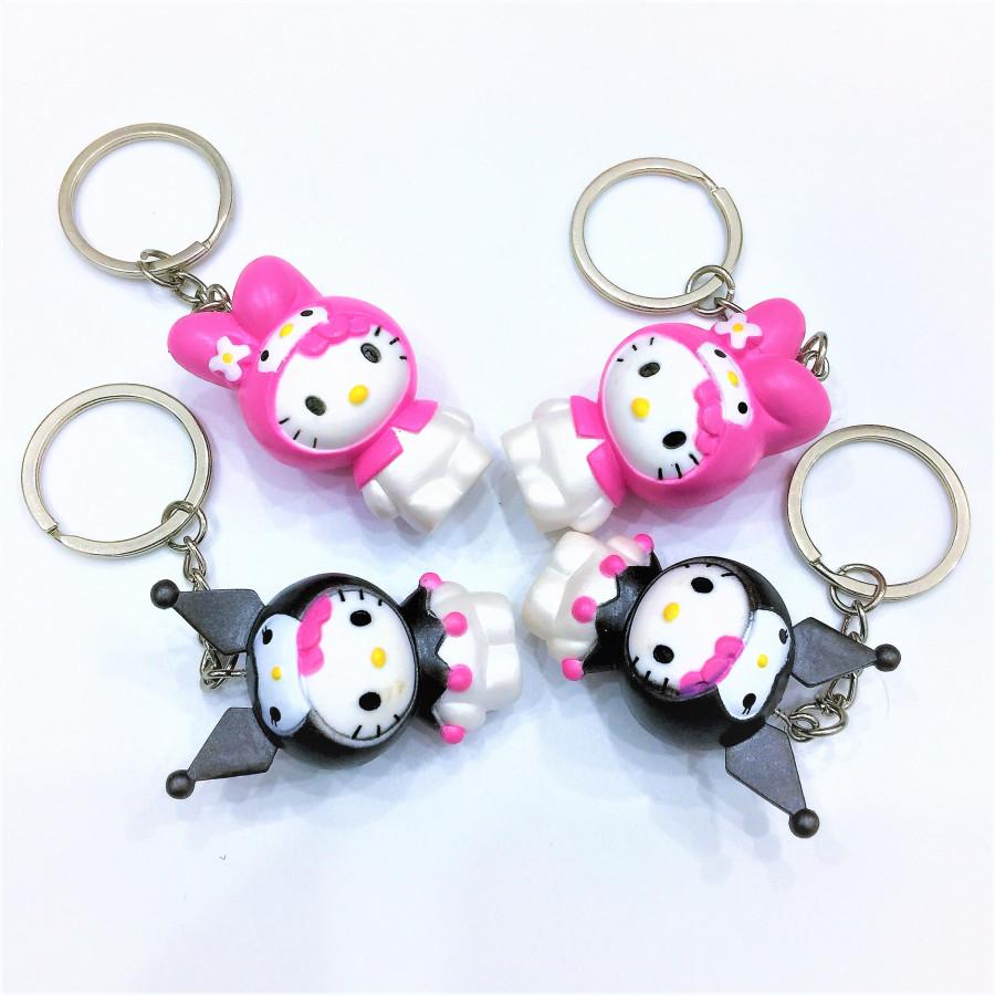 Combo 4 móc khóa - 2 mèo hồng và 2 mèo đen tai nhọn - đáng yêu - COUPLE 2