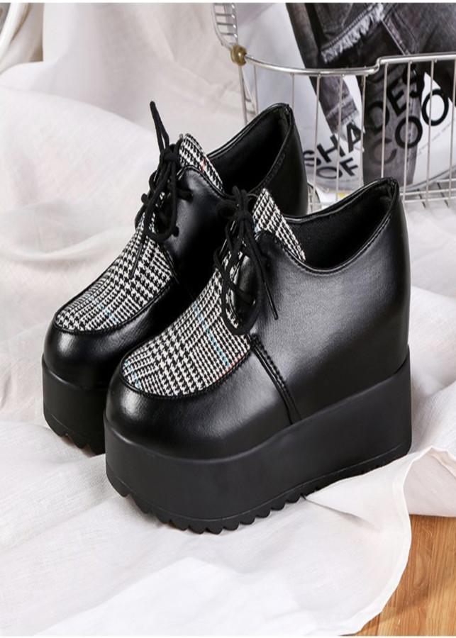 Giày bánh mì nữ độn đế dày cột dây giày da kết hợp vơi chất vải cao 7cm BM080X - 18537515 , 5734945479342 , 62_14306780 , 280000 , Giay-banh-mi-nu-don-de-day-cot-day-giay-da-ket-hop-voi-chat-vai-cao-7cm-BM080X-62_14306780 , tiki.vn , Giày bánh mì nữ độn đế dày cột dây giày da kết hợp vơi chất vải cao 7cm BM080X