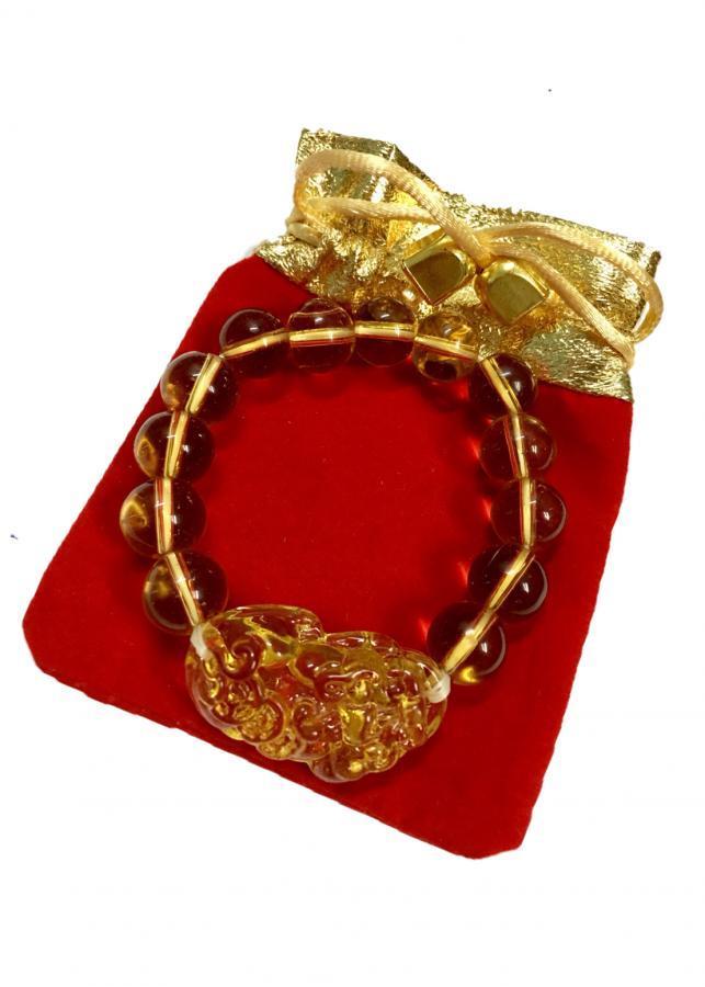 Vòng đeo tay đá thạch anh vàng chạm tỳ hưu tài lộc VTT01  hạt 12li, có kèm túi nhung cao cấp)