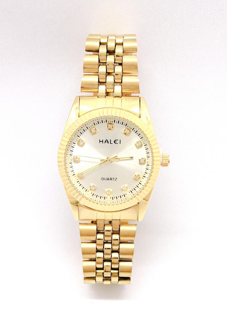 Đồng hồ Nam Halei  HL356 dây vàng + Tặng Combo TẨY DA CHẾT APPLE WHITE PELLING GEL BEAUSKIN chính hãng