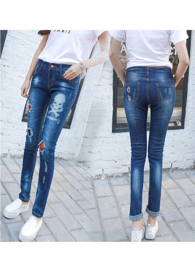 Quần jeans skinny đầu lâu Mã: QD1391