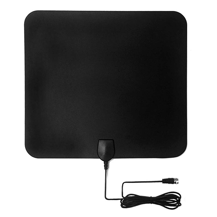 Ultra-Thin Digital HDTV Antenna Indoor TV Aerial 50 Miles Full HDTV with Signal Amplifier F Male IEC Converter - Black