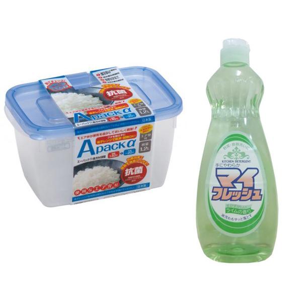 Combo hộp đựng thực phẩm chịu nhiệt lò vi sóng 1,2L + chai nước rửa bát chén, rau củ 600ml nội địa Nhật Bản