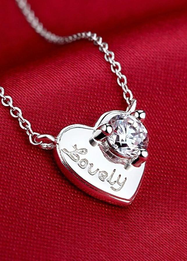 Dây chuyền bạc nữ mặt trái tim chữ Lovely DCN0109 - 1542590 , 8681175732747 , 62_9976819 , 450000 , Day-chuyen-bac-nu-mat-trai-tim-chu-Lovely-DCN0109-62_9976819 , tiki.vn , Dây chuyền bạc nữ mặt trái tim chữ Lovely DCN0109