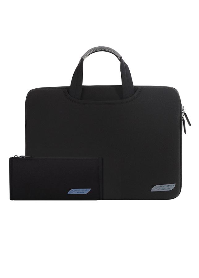 """Combo Túi Laptop Đeo Vai 15.6"""" Và Túi Phụ Kiện Cartinoe Sleeves Breath Simplicity MIVIDA(1106+1122) - Đen"""