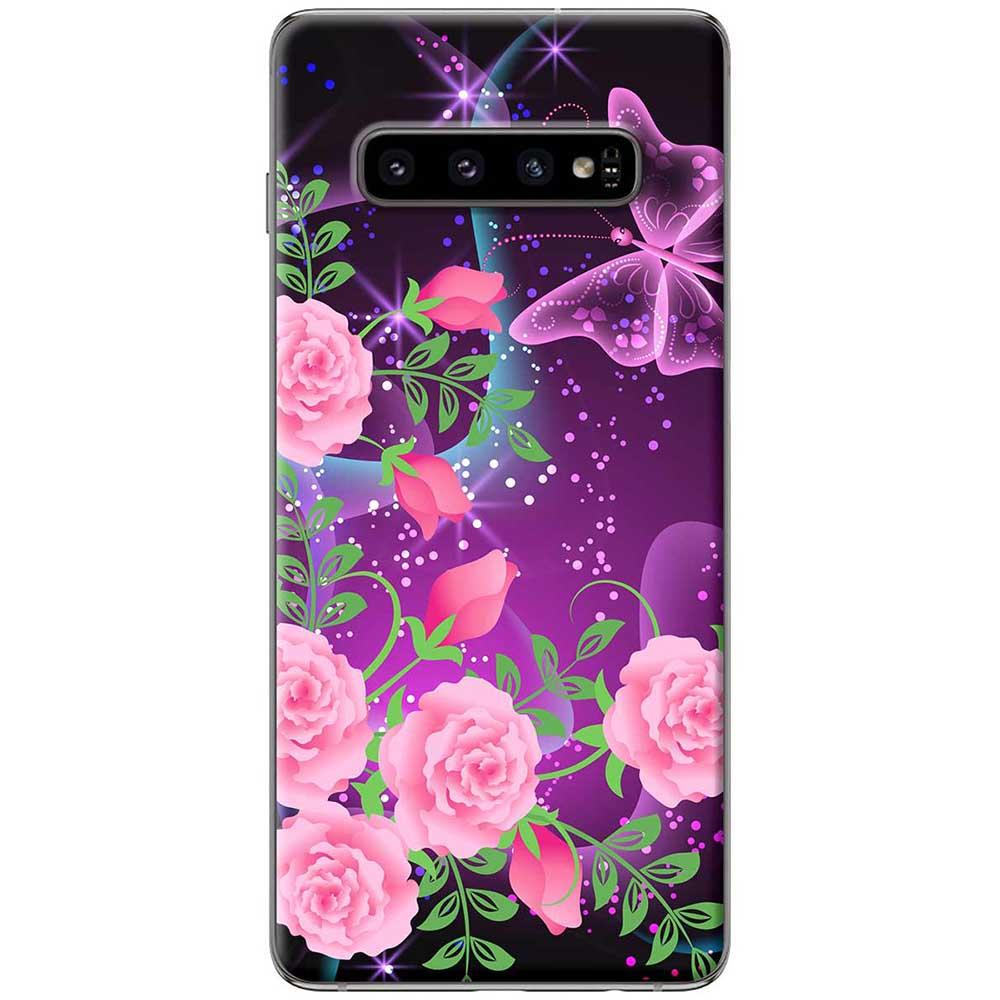 Ốp lưng  dành cho Samsung Galaxy S10 mẫu Hoa hồng bướm tím