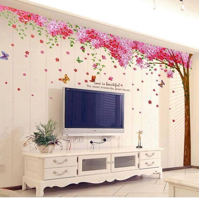 Decal dán tường cây đào hồng