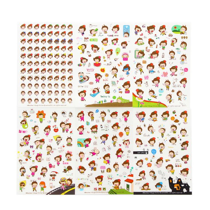 Bộ 6 tấm sticker trang trí Ong vàng