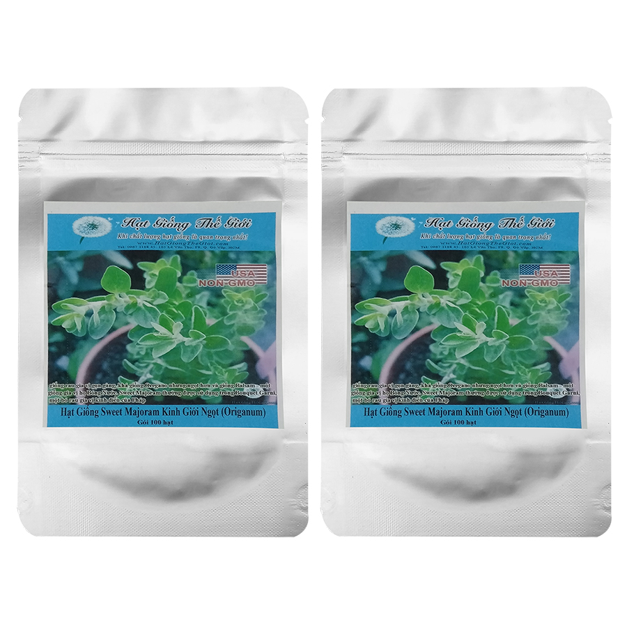 Bộ 2 túi 100h Hạt Giống Sweet Majoram - Kinh Giới Ngọt (Origanum majorana)