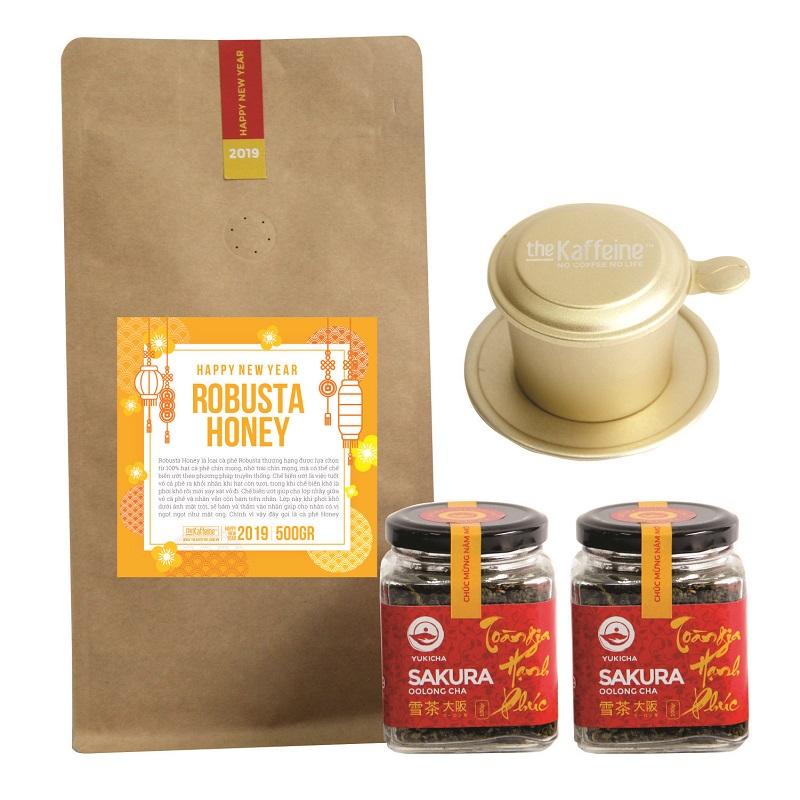 Combo quà Tết - Cà phê Robusta Honey 500g + 02 hũ trà Olong Sakura The Kaffeine - Tặng phin cao cấp