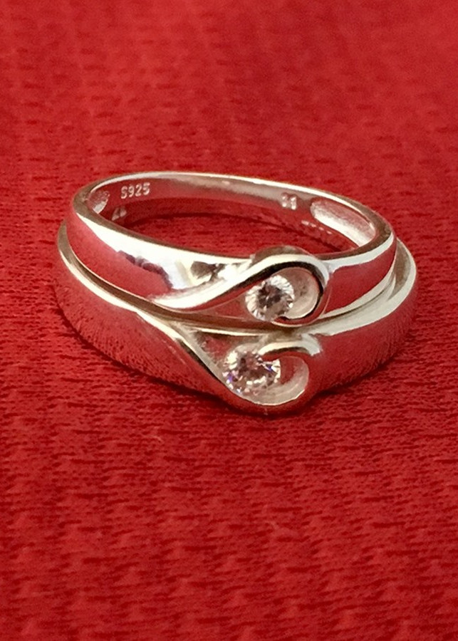 Nhẫn đôi trái tim viền trơn không đá bạc 925 trang sức Bạc QTJ - ND20(BẠC)