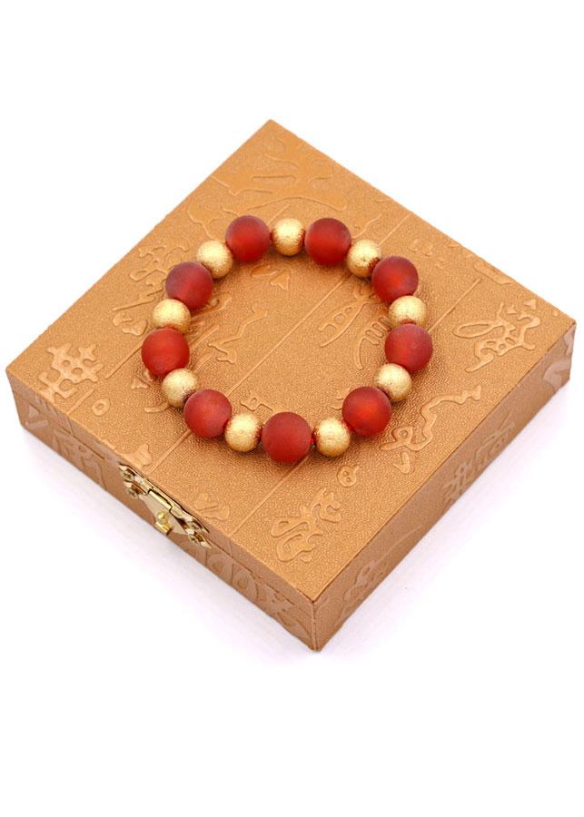 Vòng chuỗi tay - thạch anh đỏ mài mờ 12 ly VTAOMHVM1 - kèm hộp gỗ - hợp mệnh Hỏa, mệnh Thổ