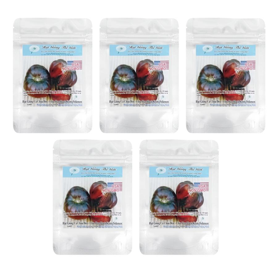 Bộ 5 túi Hạt Giống Cà Chua - Bụi Lùn Chịu Hạn Black Krim (Solanum Lycopersicum) (10 hạt / túi)