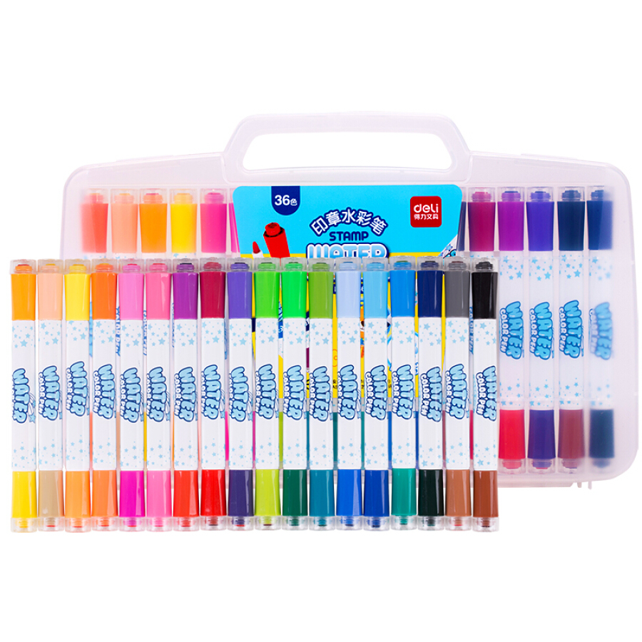 (Deli) 70666 can be washed 36-color double-headed double seal watercolor pen box box color random