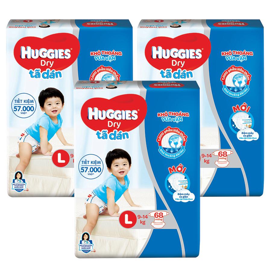 Combo 3 Gói Tã Dán Huggies Dry Gói Cực Đại L68 (68 Miếng) - Bao Bì Mới