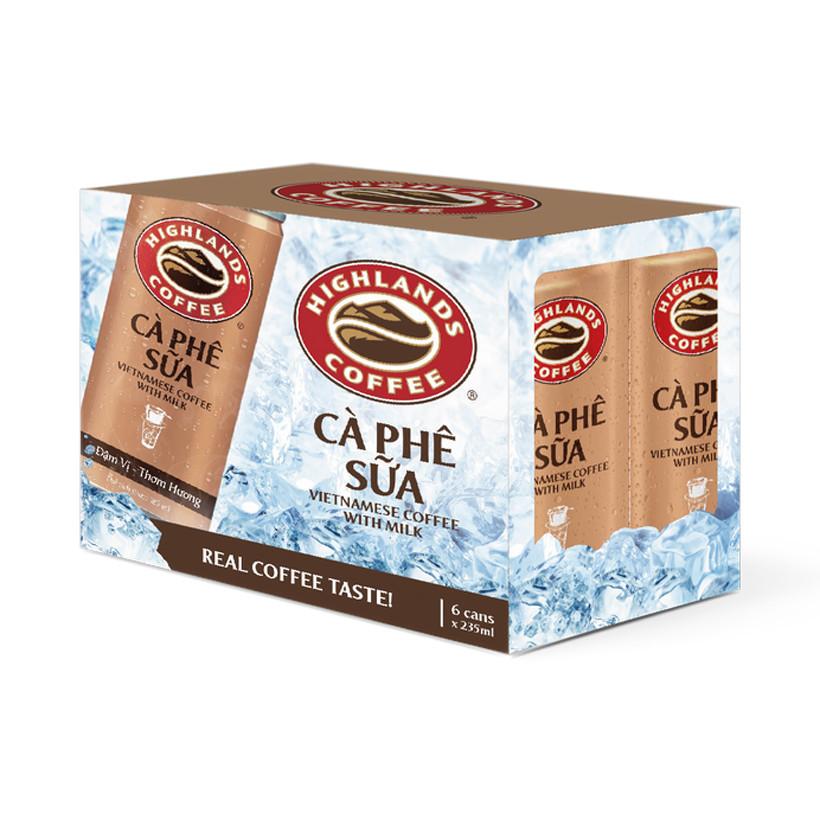 Lốc 6 Lon Cà Phê Sữa Đá Highlands Coffee (235ml/Lon)