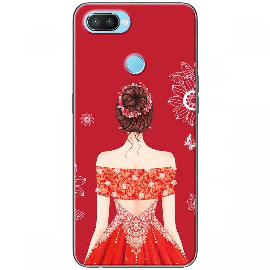 Ốp lưng dành cho Realme 2 Cô gái váy đỏ áo xẻ vai